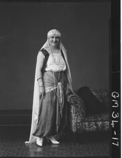 portrait of woman in fancy dress, F/L Walker