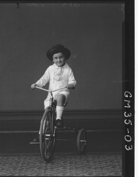 portrait of small boy riding tricycle, F/L Wilkie