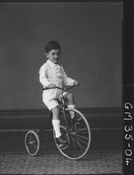 portrait of boy riding tricycle, F/L Wilkie
