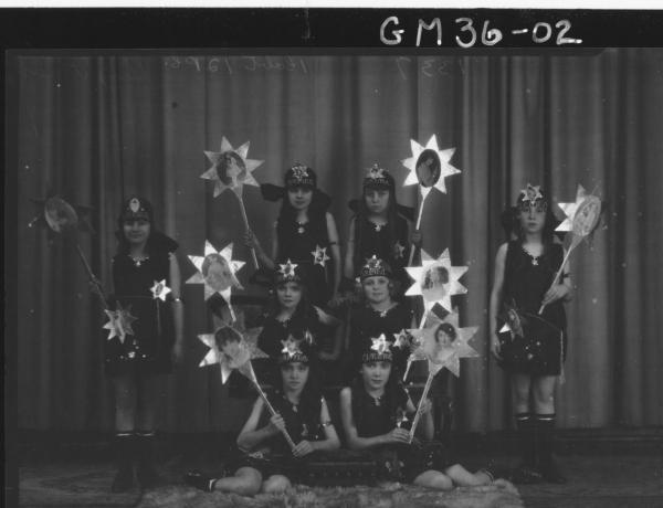 portrait of eight girls in costume, Wightman