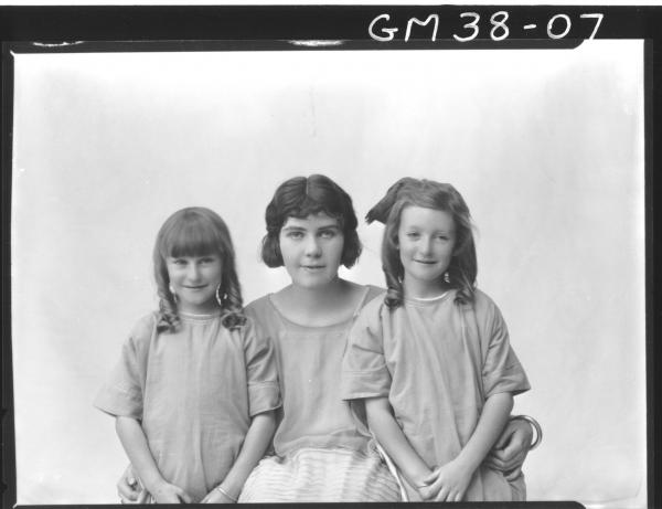 portrait of young woman and two children, H/S Brown
