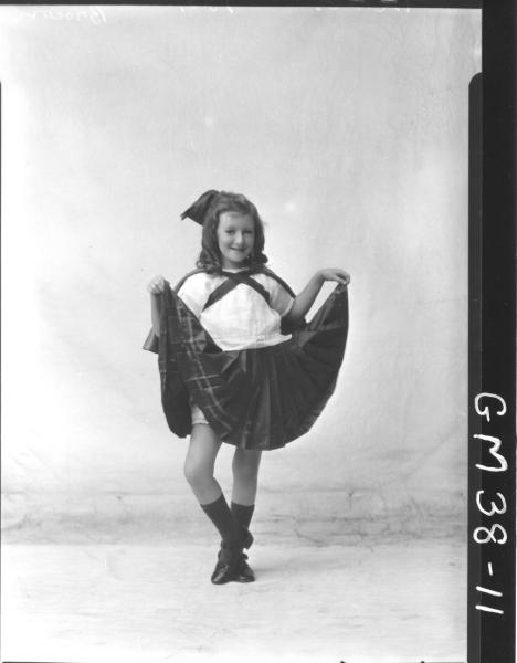 portrait of young girl in Irish dance costume, F/L Brown
