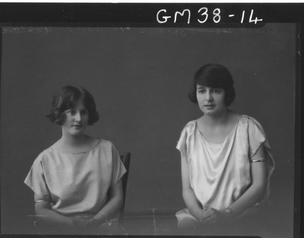 portrait of two young ladies, H/S Bennett