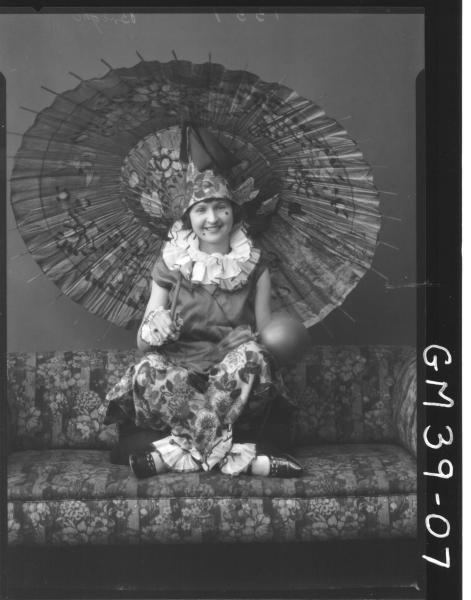 portrait of women fancy dress clown, F/L Berry