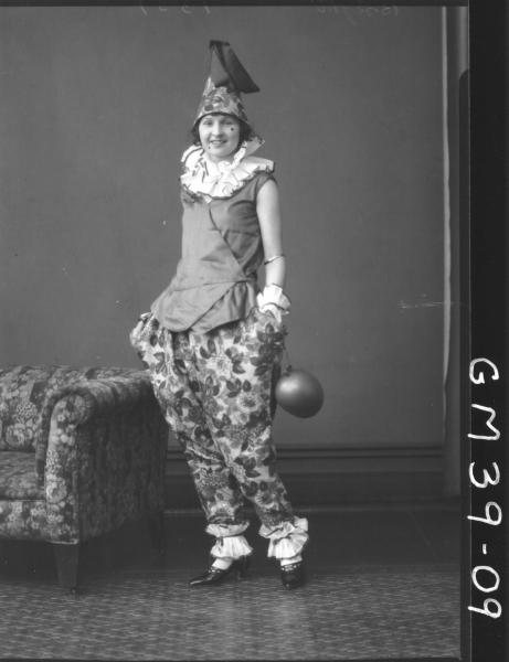 portrait of woman fancy dress clown, Berry
