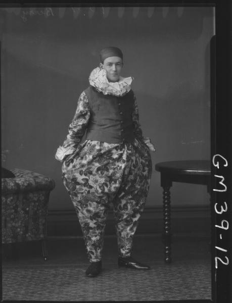 portrait of man fancy dress clown, F/L Berry
