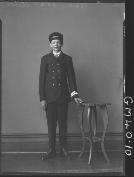 portrait of young man in motorman uniform, F/L Stubbs