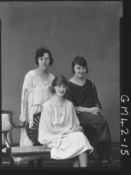 portrait of three young woman, Thompson