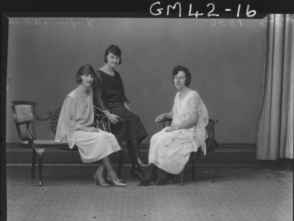 portrait of three young women, F/L Thompson and Williams