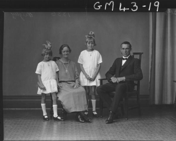 portrait of woman, man and two children, F/L Wrigley