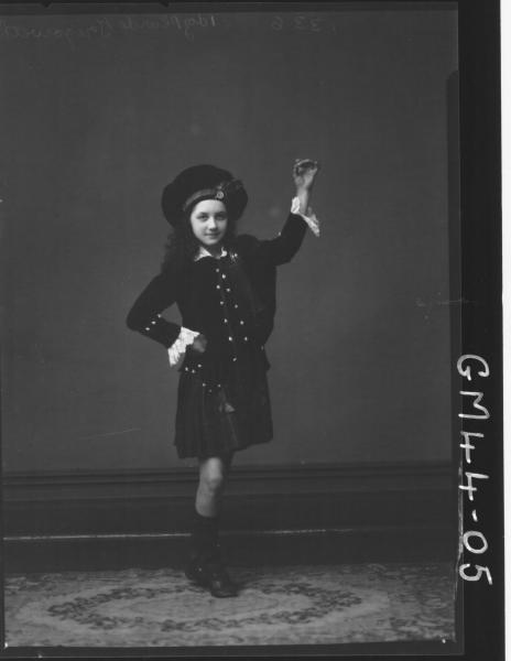portrait of girl in Scottish dance costume, F/L Tregoweth