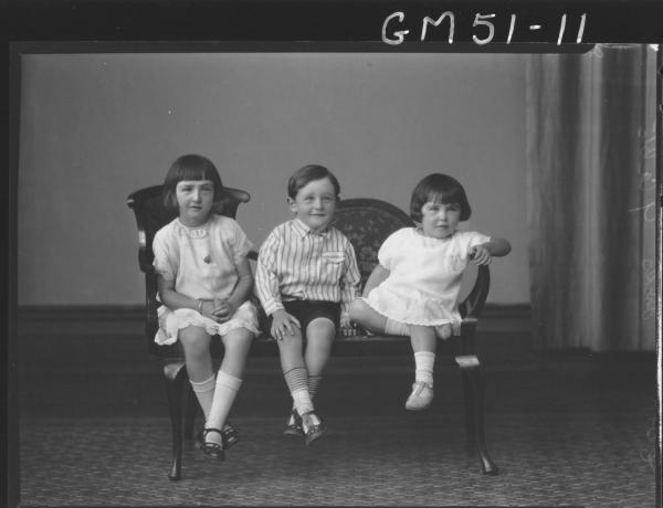 portrait of three children, F/L Hicks