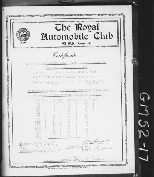 royal automobile club certificate of studebaker sports car trials on lake, Perkolliu