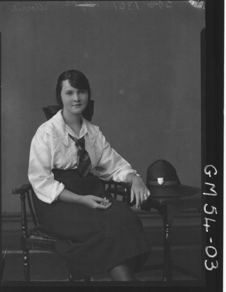PORTRAIT OF YOUNG WOMAN, F/L MORRIS