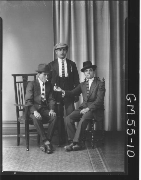 PORTRAIT OF THREE YOUNG MEN, F/L PELLEGRINO