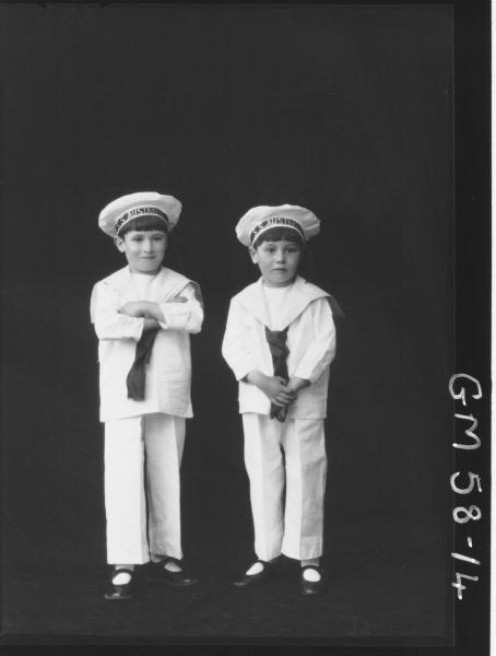 Two boys in fancy dress F/L, O'Brien