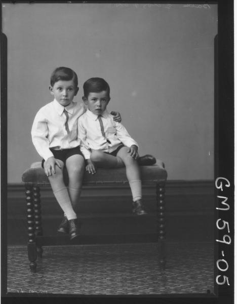Portrait of two boys, Ball
