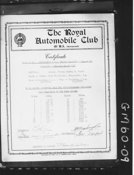 Royal Automobile Club certificate of Studebaker sports car trials on Lake Perkollili