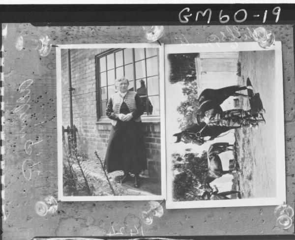 Copy of two pictures, 1 - woman Allen, 2 - man with horse mills