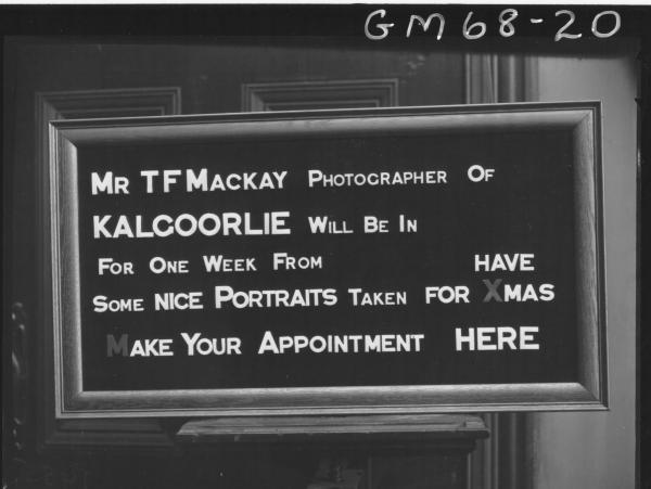 T.F. MACKAY PHOTOGRAPHERS SIGN