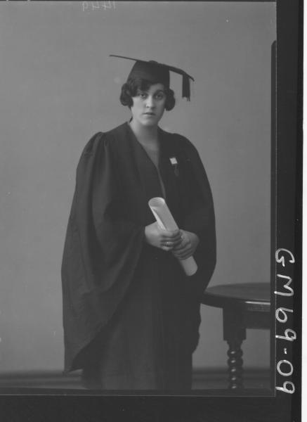 PORTRAIT OF WOMAN IN GOWN AND CAP, SALERS