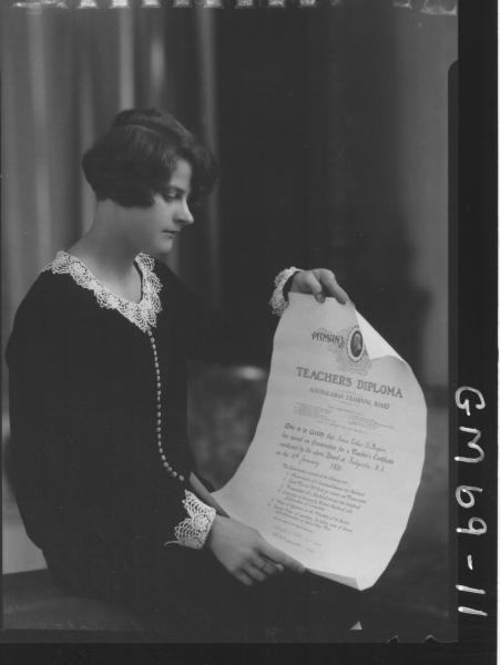 PORTRAIT OF WOMAN HOLDING TEACHING DIPLOMA, ANNIE ESTER LE BOYDRE