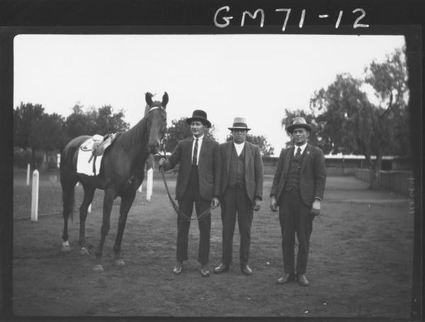 THREE MEN LEADING HORSE, SARACH