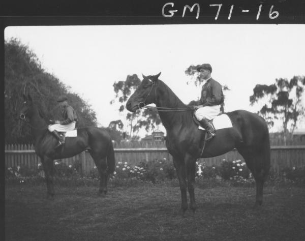 TWO JOCKEYS AND HORSES, VAIL