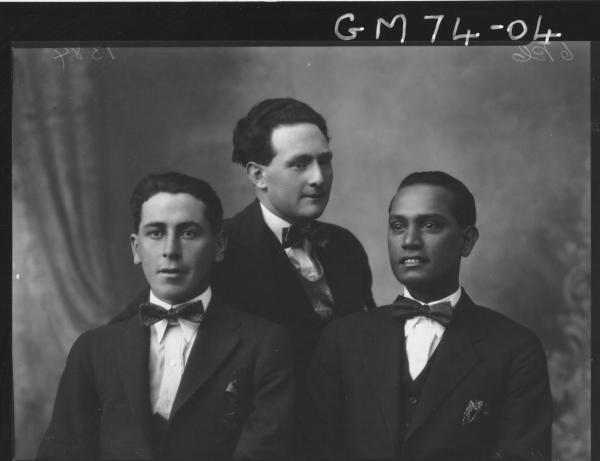 PORTRAIT OF THREE MEN, H/S, MARTIN, ONE MAN INDIAN?