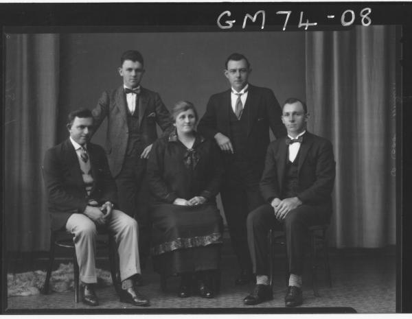 PORTRAIT OF WOMAN AND FOUR MEN, F/L, MILLER