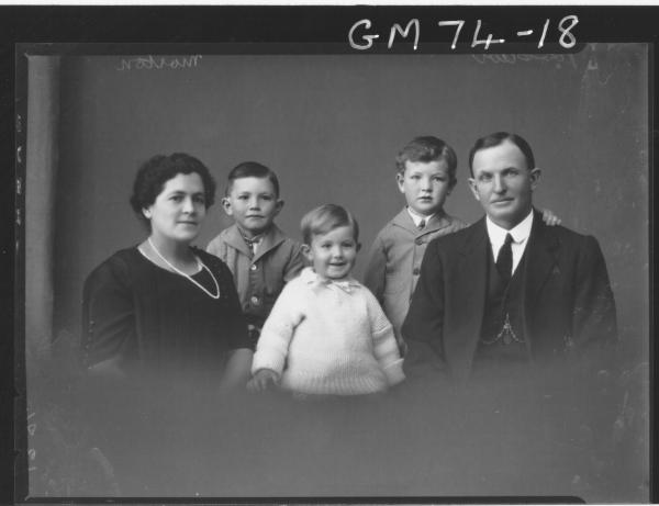 PORTRAIT OF WOMAN, MAN AND THREE CHILDREN, H/S, MORTON