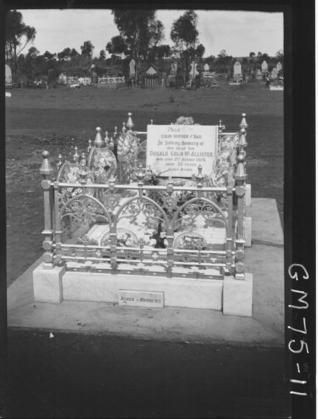 GRAVE OF DUGALD COLIN MCALLISTER.  Kalgoorlie Cemetery.