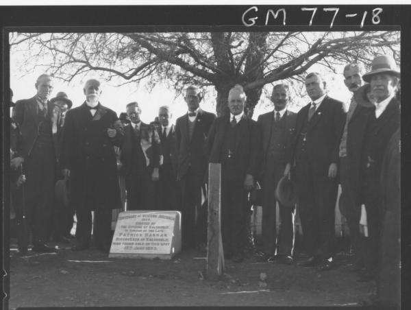 Patrick Hannan's plaque and tree, Mayor Leslie and Officials.