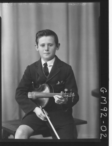 PORTRAIT OF BOY HOLDING A VIOLIN, 'PATTERSON'