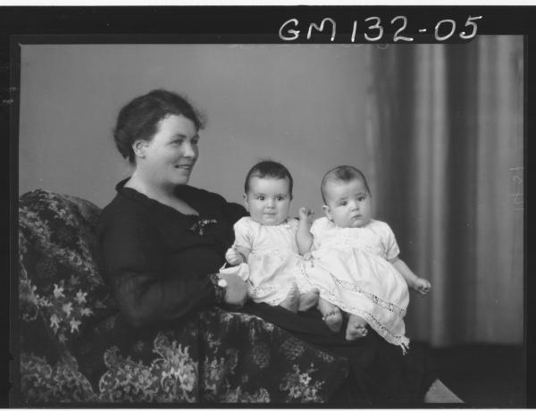 Portrait of woman and two babies 'Dalton'