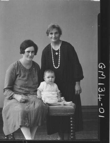 Portrait of two women and baby 'Brockward'