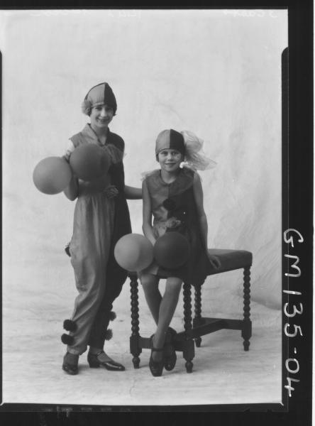Portrait of two girls, fancy dress, 'Abbed'