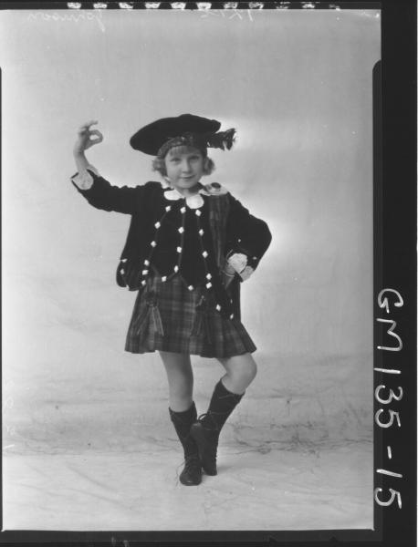 Portrait of girl Scottish costume 'Johnson'