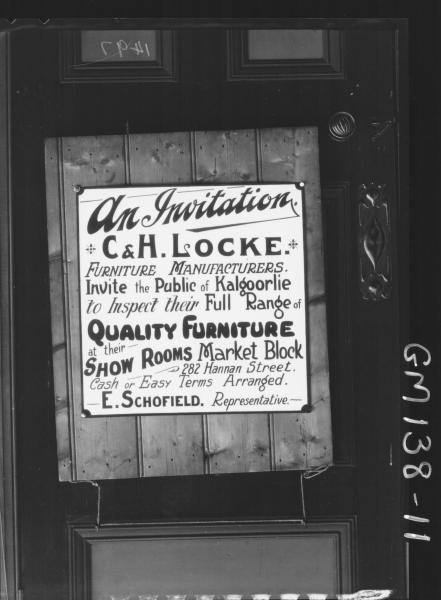 Advertising sign for C & H Locke Furniture Rep. E. Schofield