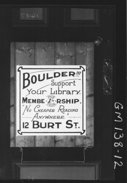 Advertising sign for Boulder Library, 12 Burt St, Boulder.