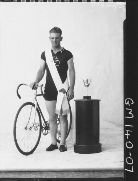 Portrait of winning cyclist 'Egan'