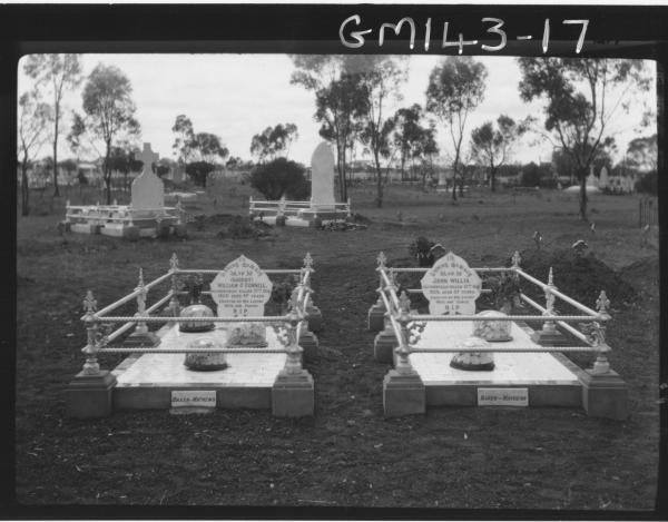 Grave of William John (Shoddy) O'Connell (Age 47) & John Willis Kalgoorlie Cemetery. Catholic section Grave 6568.