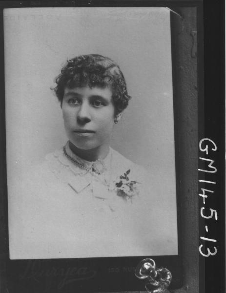 Copy portrait of woman 'Trabolt'. Photographer Duryea, 10 Rundle Street, Adelaide