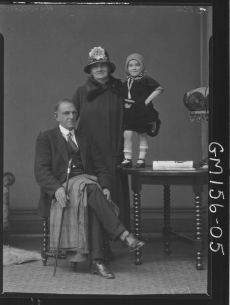 Portrait of man woman and child 'Anderson'