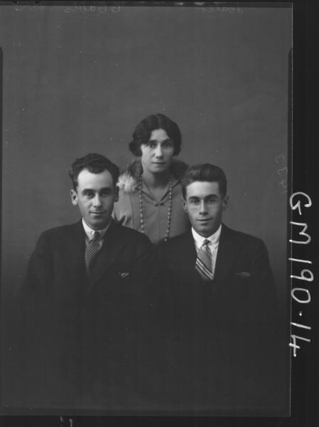 Portrait of two men and woman'Lester'