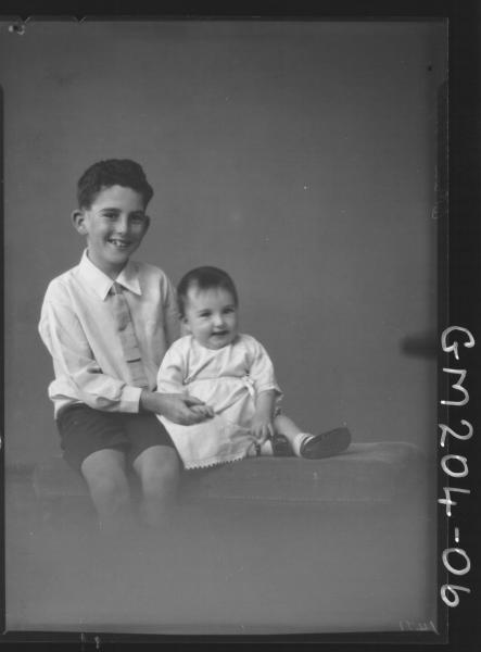 Portrait of boy and baby 'Wright'