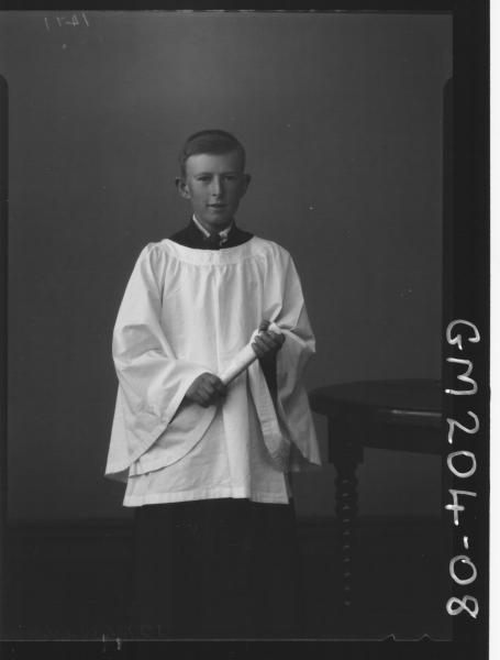 Portrait of choir boy 'Wells'