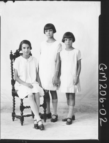 Portrait of three girls 'Cribb'