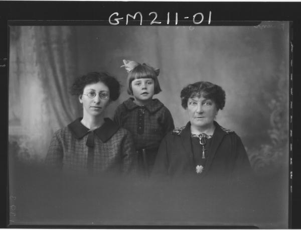 Portrait of two women and child, 'Daunt'