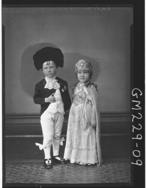Portrait of two children fancy dress 'Crannage'